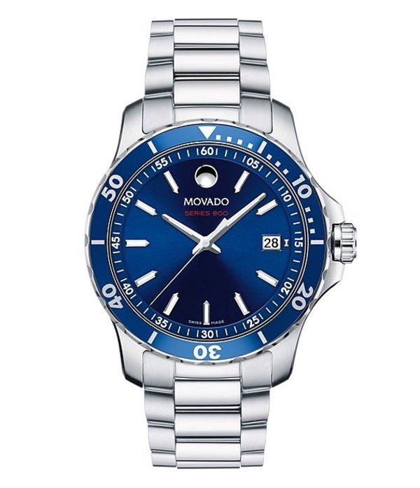 モバド メンズ 腕時計 アクセサリー SERIES 800 Men's Blue Dial Stainless Steel Watch Silver-tone