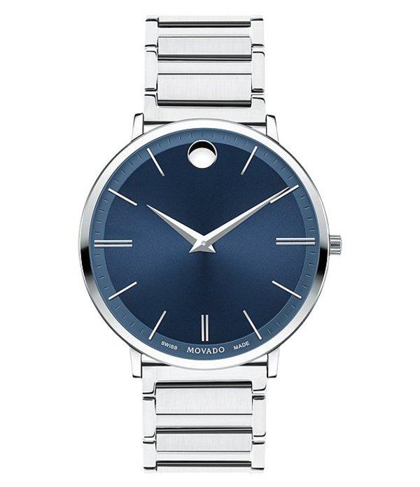 モバド メンズ 腕時計 アクセサリー Swiss Quartz Movement Ultra Slim Watch Silver-Tone