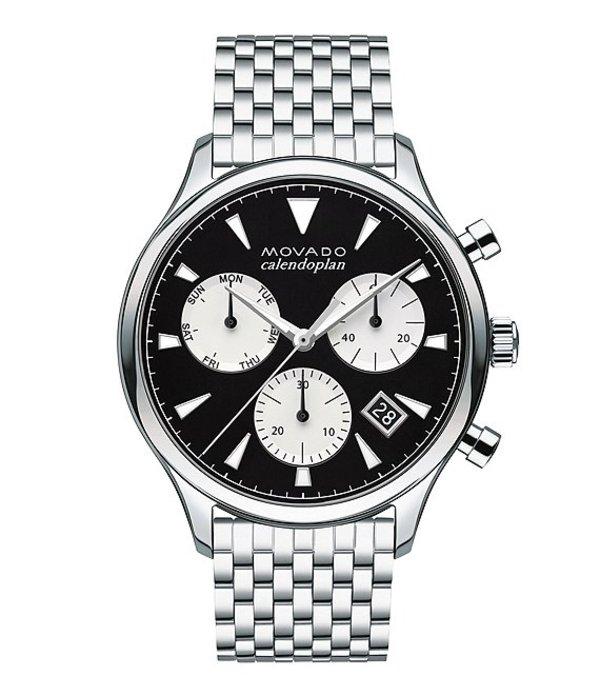 モバド メンズ 腕時計 アクセサリー Heritage Silver-Toned Swiss Quartz Chronograph Watch Black