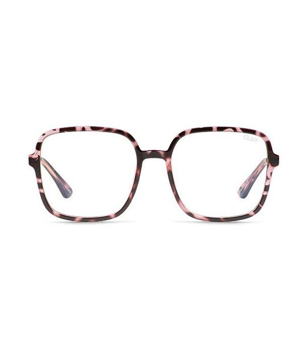 クアイオーストラリア レディース サングラス・アイウェア アクセサリー Quay 9 To 5 Oversized Square Blue Light Glasses Pink Tortoise