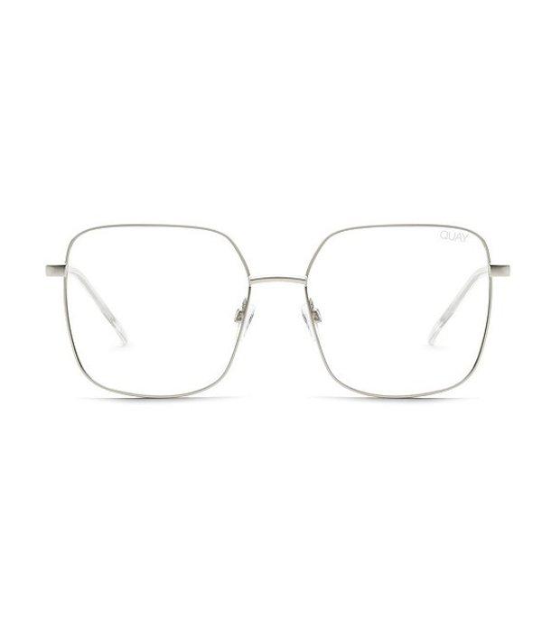 クアイオーストラリア レディース サングラス・アイウェア アクセサリー Quay Cheat Sheet Oversized Blue Light Square Glasses Silver