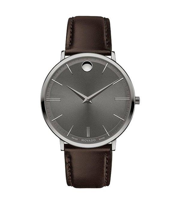 モバド メンズ 腕時計 アクセサリー Men's Brown Calfskin Ultra Slim Watch Grey