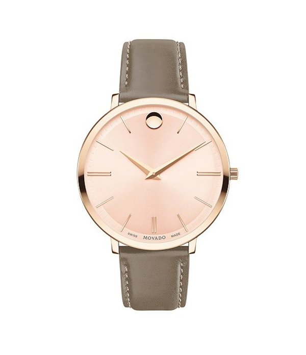モバド レディース 腕時計 アクセサリー Women's Taupe Calfskin Ultra Slim Watch Rose Gold