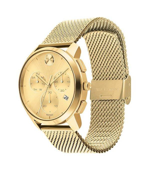 モバード メンズ 腕時計 アクセサリー Men's Movado Bold Gold IP Mesh Watch Gold