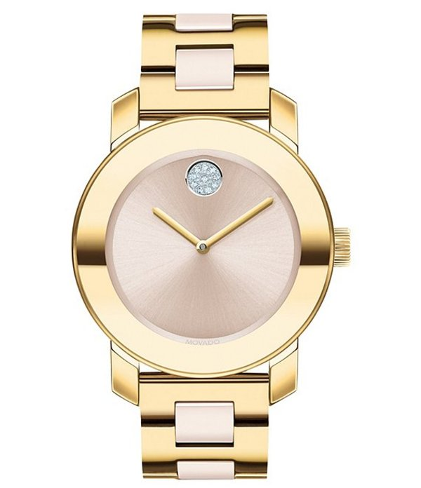 モバード レディース 腕時計 アクセサリー Women's Stainless Steel Swiss Quartz Centerlink Watch Gold Beige