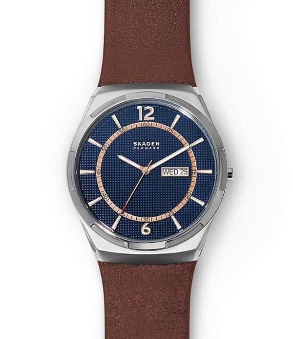 スカーゲン メンズ 腕時計 アクセサリー Men's Three-Hand Day-Date Brown Leather Watch Brown