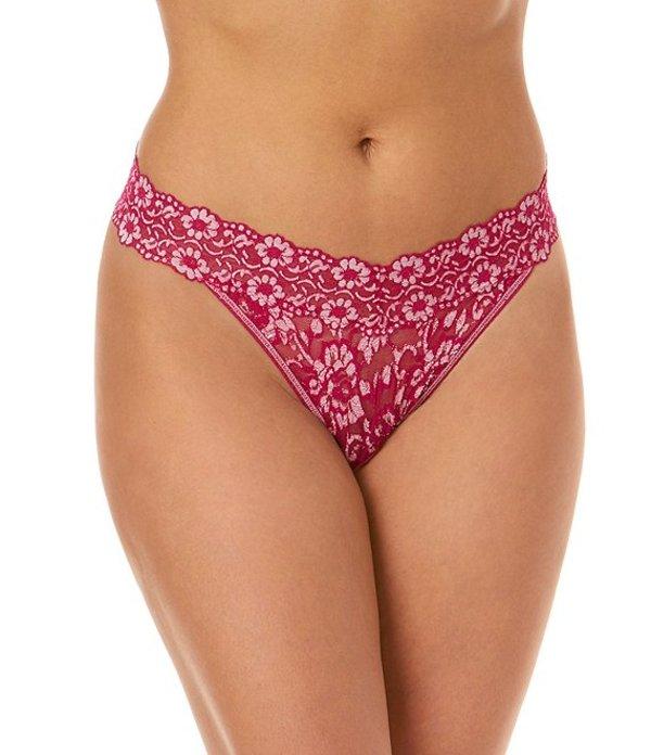 ハンキーパンキー レディース パンツ アンダーウェア Cross-Dyed Floral Lace Original-Rise Thong Venetian Pink