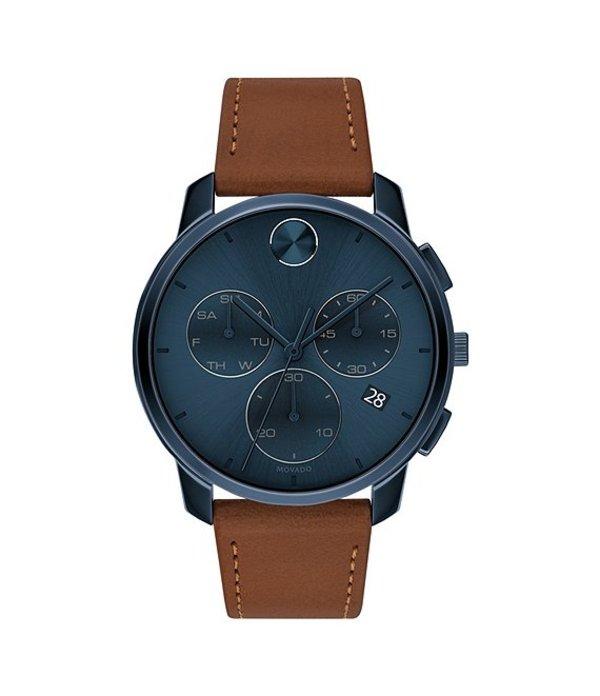 モバード メンズ 腕時計 アクセサリー Men's Movado Bold Blue IP Watch Brown Blue