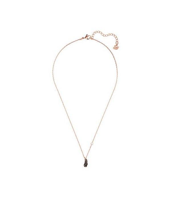 スワロフスキー レディース ネックレス・チョーカー アクセサリー Naughty Collection Crystal Feather Pendant Necklace Rose Gold