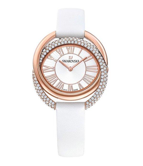 スワロフスキー レディース 腕時計 アクセサリー White Duo Swiss Quartz Analog Leather Watch White