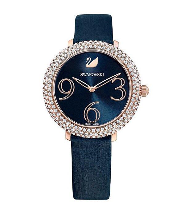 スワロフスキー レディース 腕時計 アクセサリー Blue Crystal Frost Swiss Quartz Analog Watch Blue