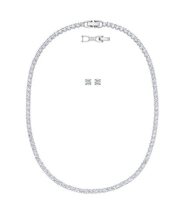 スワロフスキー レディース ネックレス・チョーカー アクセサリー Tennis Deluxe Collection Necklace and Earring Set Silver