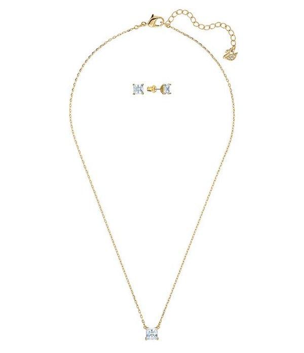 スワロフスキー レディース ネックレス・チョーカー アクセサリー Attract Collection Necklace and Earring Set Gold