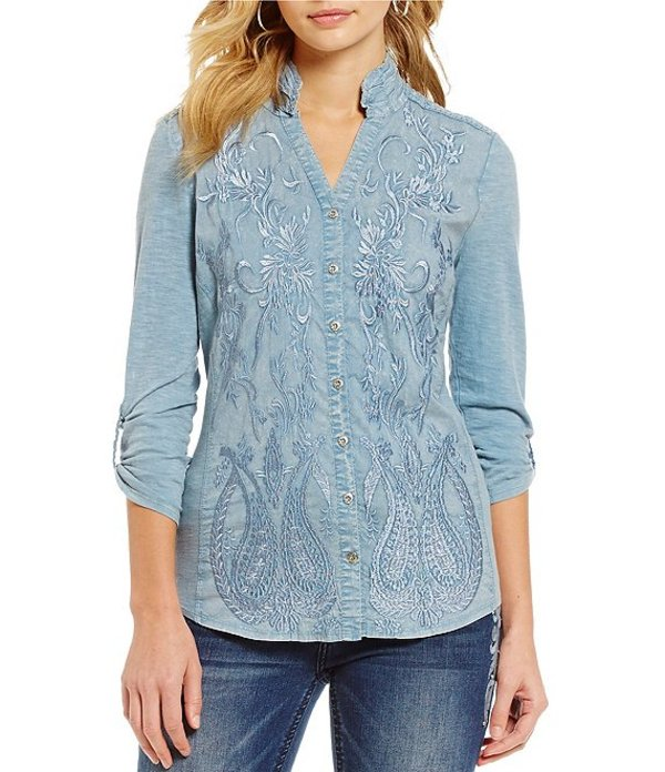 レバ レディース シャツ トップス Anesia Mandarin Collar Roll-Tab Sleeve Embroidered Woven Knit Top Chambray