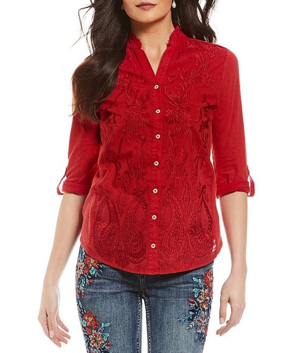 レバ レディース シャツ トップス Anesia Mandarin Collar Roll-Tab Sleeve Embroidered Woven Knit Top Racing Red