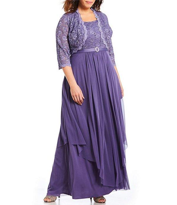 アールアンドエムリチャーズ レディース ワンピース トップス Plus Size Sequined Lace & Chiffon Jacket Dress Lavender