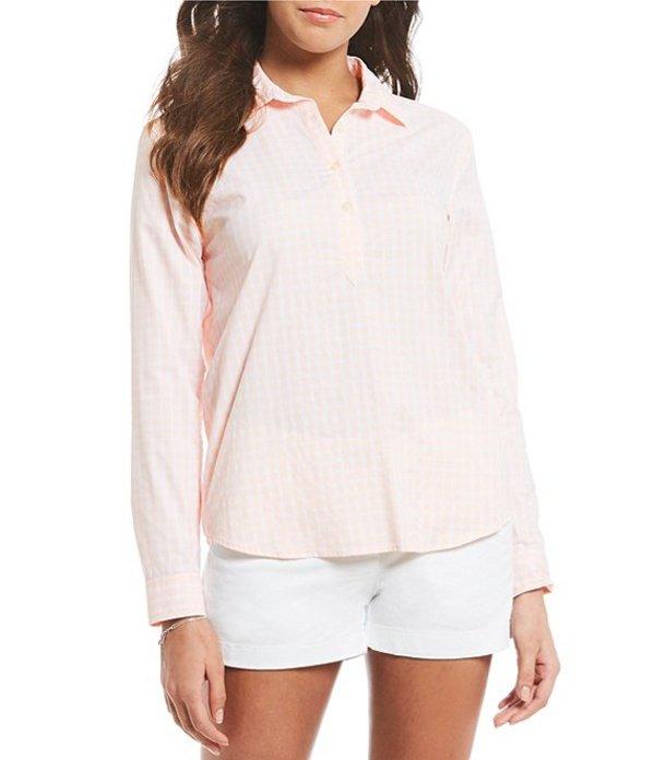 サウザーンタイド レディース シャツ トップス Hadley Plaid Partial Button Front Shirt Pink Dogwood