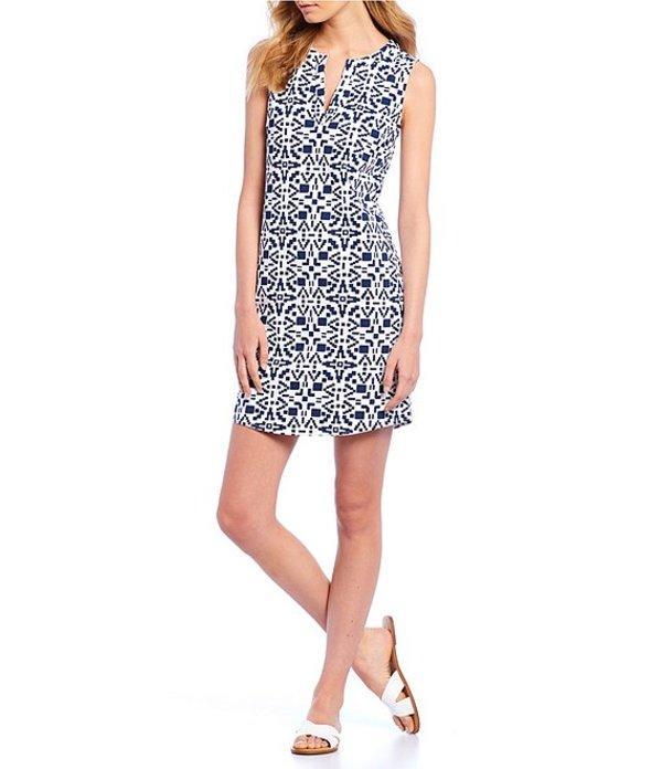 サウザーンタイド レディース ワンピース トップス Robyn Geo Print Sleeveless Split V-Neck Dress Insignia Blue