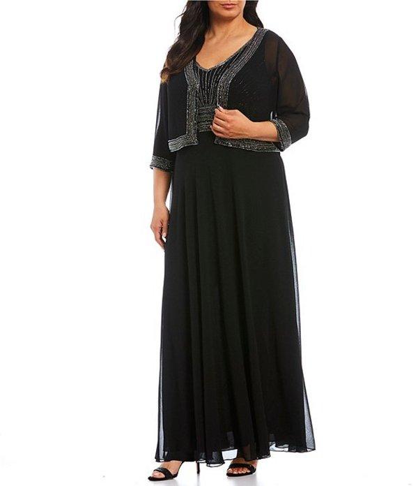 ジェーカラ レディース ワンピース トップス Plus Size Beaded Bodice Chiffon Jacket Dress Black/Gunmetal/Mercury