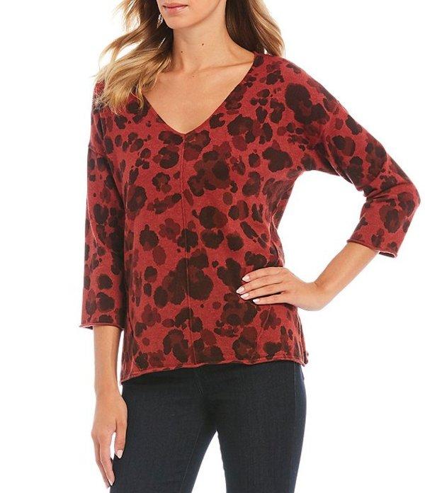 デモクラシー レディース Tシャツ トップス Leopard Print V-Neck Back Cut Out Top Rosewood