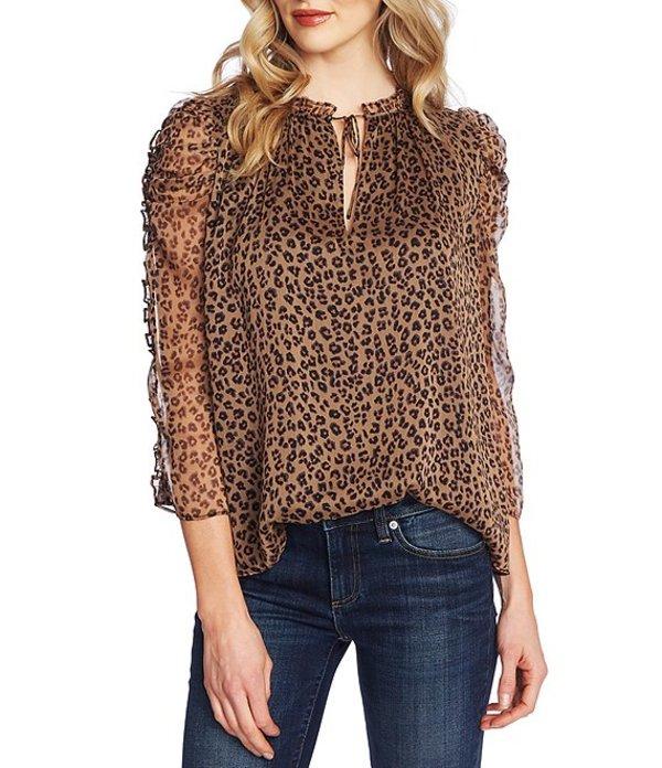 セセ レディース シャツ トップス 3/4 Ruffle Sleeve Tie Neck Leopard Print Blouse Spicewood