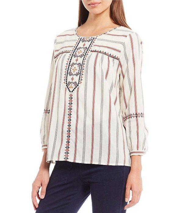 エーラブズエー レディース シャツ トップス Embroidered Stripe Cotton Peasant Top Multi