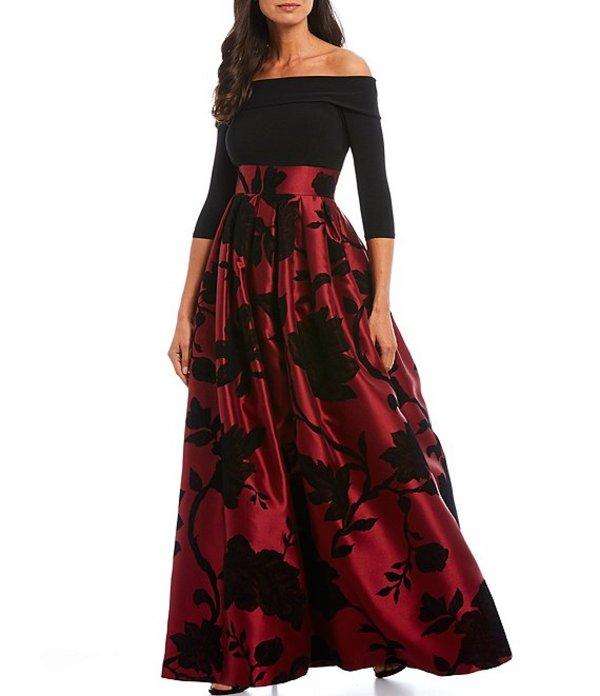 ジェシカハワード レディース ワンピース トップス Flocked Floral Jacquard Skirt Fold Off-the-Shoulder Ballgown Black/Burgandy