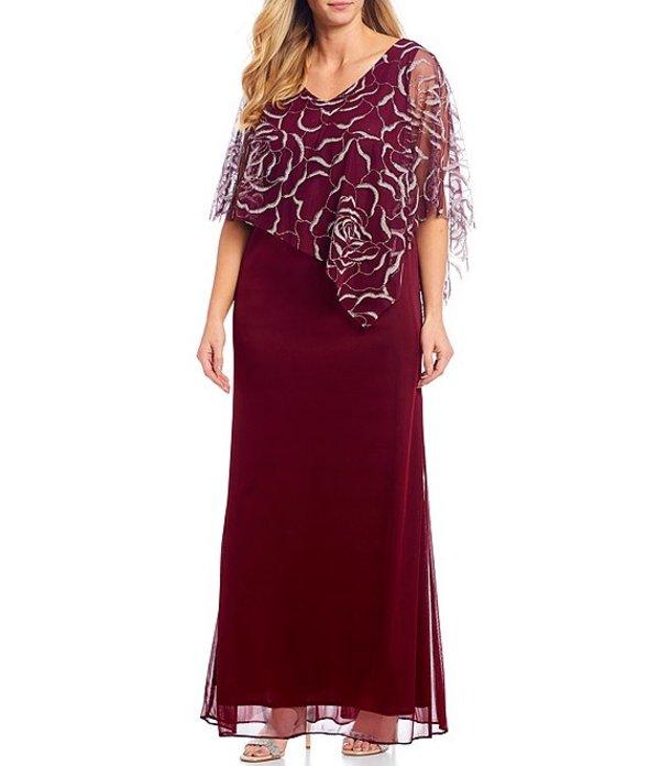 イグナイト レディース ワンピース トップス Plus Size Glitter Mesh Capelet Long Jersey Gown Wine