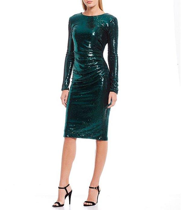 ドレスザポプレーション レディース ワンピース トップス Emilia Micro Sequin V-Back Center Ruched Detail Sheath Dress Deep Emerald