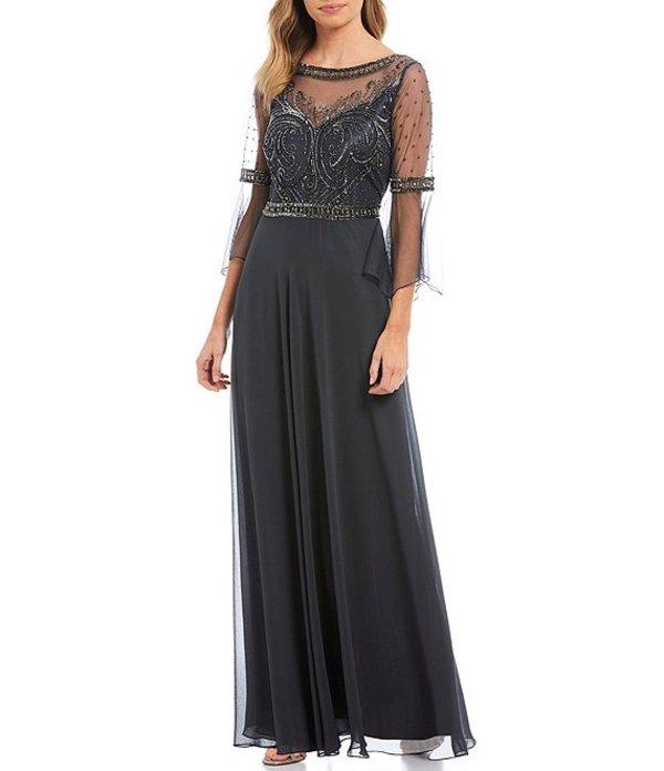 ジェーカラ レディース ワンピース トップス Beaded Bodice Illusion Chiffon Bell Sleeve Gown Grey/Multi