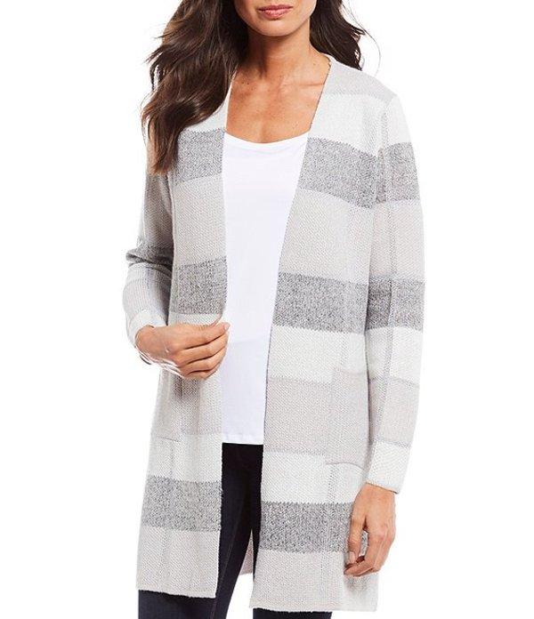 アイエヌ スタジオ レディース カーディガン アウター Petite Size Bold Stripe Print Open Front Sweater Cardigan Tan