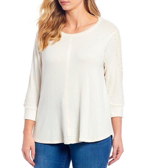 ボベー レディース Tシャツ トップス Plus Size Lace Trim Sleeve Crew Neck Brushed Hacci Sweater Top Sugar