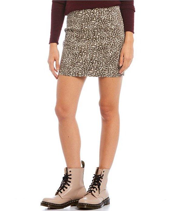 フリーピープル レディース スカート ボトムス Modern Femme Novelty Leopard Print Stretch Denim Mini Skirt Tea Combo