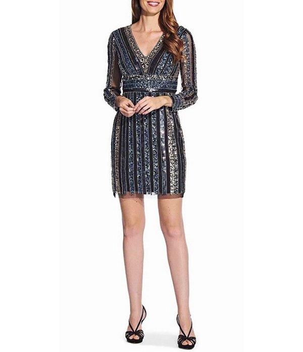 アドリアナ パペル レディース ワンピース トップス V-Neck Long Sleeve Stripe Sequin Mesh Dress Black Multi