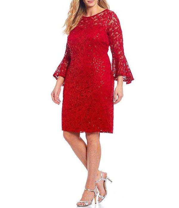 マリナ レディース ワンピース トップス Plus Sequin Lace Bell-Sleeve Dress Red