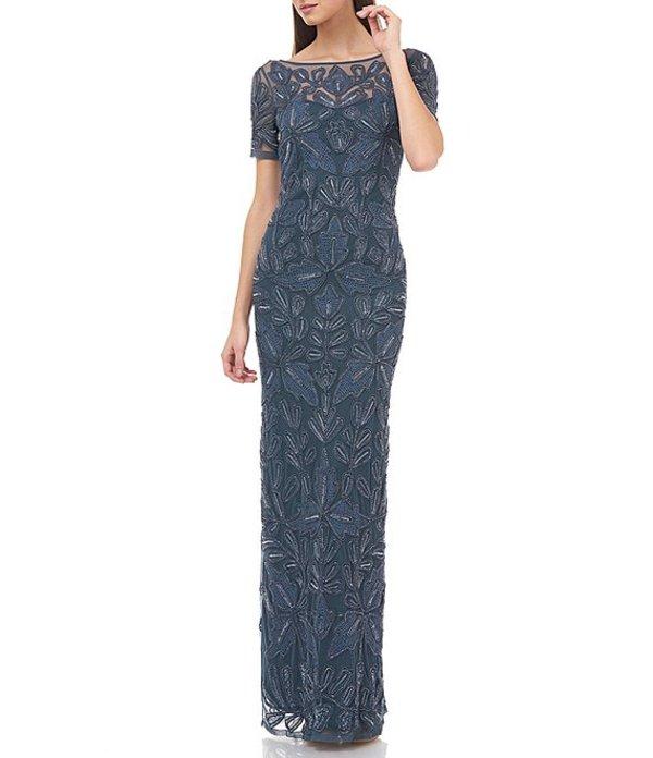 ジェイエスコレクションズ レディース ワンピース トップス Beaded Mesh Soutache Gown Mineral Blue