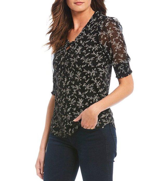 ラッキーブランド レディース シャツ トップス Mix Media Floral Print Tassel Ties V-Neck Short Sleeve Peasant Top Black Multi