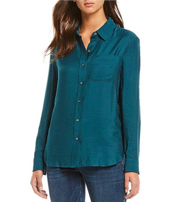 ウエストバウンド レディース シャツ トップス Petite Size Front Pocket Button Down Shirt Deep Teal