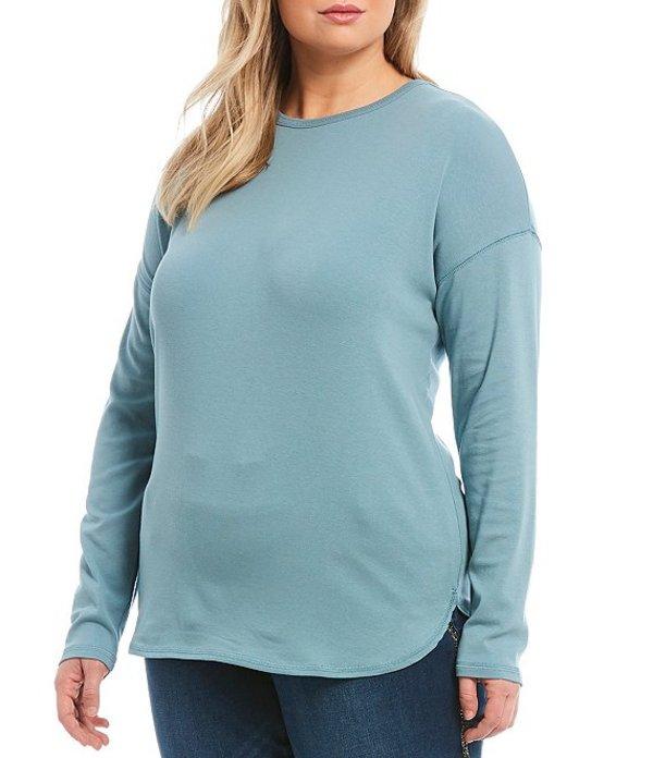 ウエストバウンド レディース Tシャツ トップス Plus Size Long Sleeve Crew Cotton Blend Tee Smoke Blue