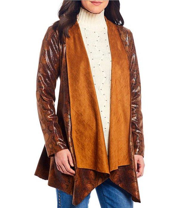 レバ レディース ジャケット・ブルゾン アウター Faux Suede Snake Skin Print Metallic Foil Jacket Brown/Multi