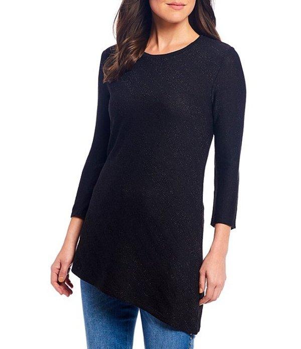 レバ レディース Tシャツ トップス Grace Metallic Jersey Knit Asymmetrical Tunic Black