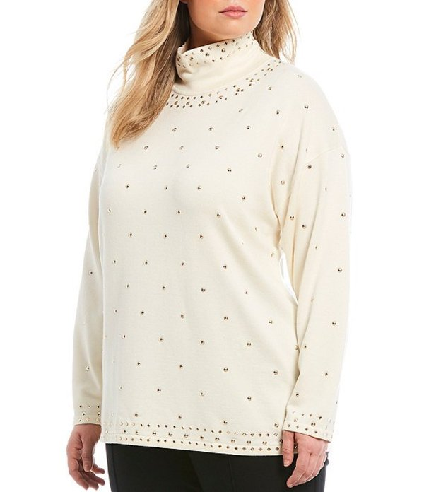ルビーアールディー レディース Tシャツ トップス Plus Size Mock Neck Stud Embellished Pullover Sweater Ivory