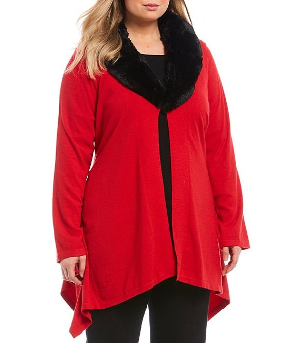 ルビーアールディー レディース カーディガン アウター Plus Size Cozy Fine Georgette Faux Fur Collar Sharkbite Cardigan Red