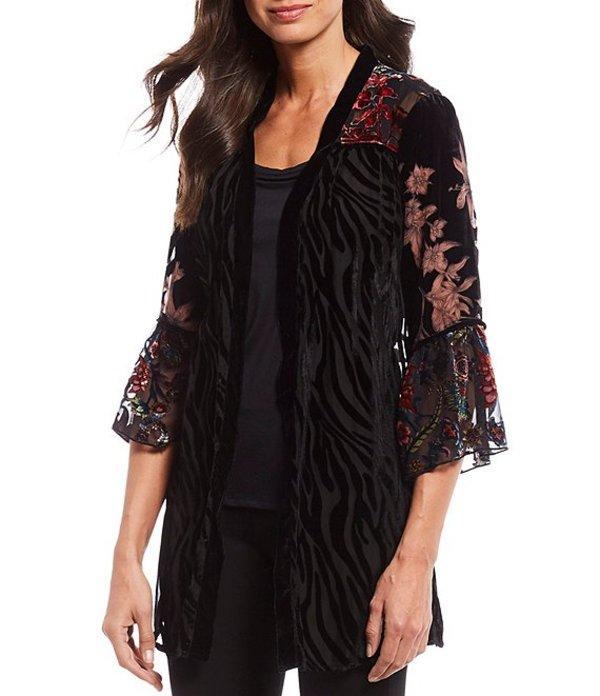 マルチプルズ レディース ジャケット・ブルゾン アウター Petite Size Zebra Floral Print Velvet Burnout Bell Sleeve Open Front Jacket Multi