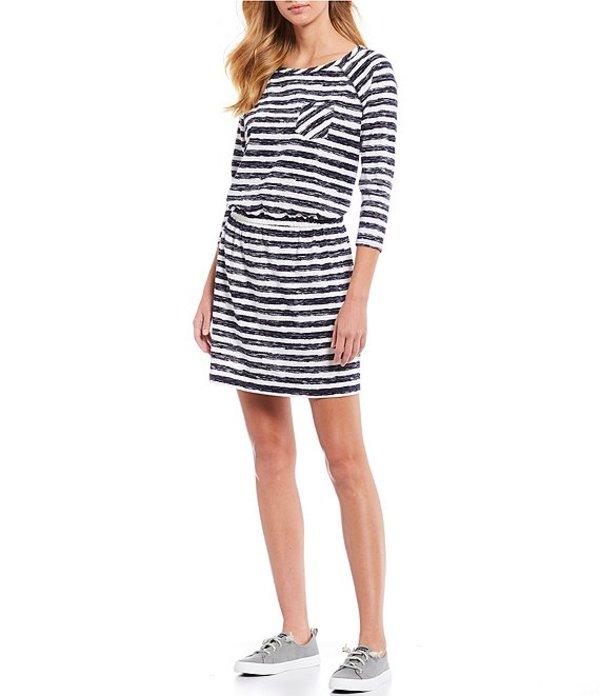 サウザーンタイド レディース ワンピース トップス Jena Stripe Cotton Blend Raglan Sleeve Blouson Dress Nautical Navy