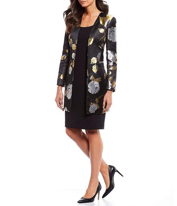 タハリエーエスエル レディース ワンピース トップス Metallic Floral Print Satin Jacquard Topper Jacket 2-Piece Dress Suit Black/Gold