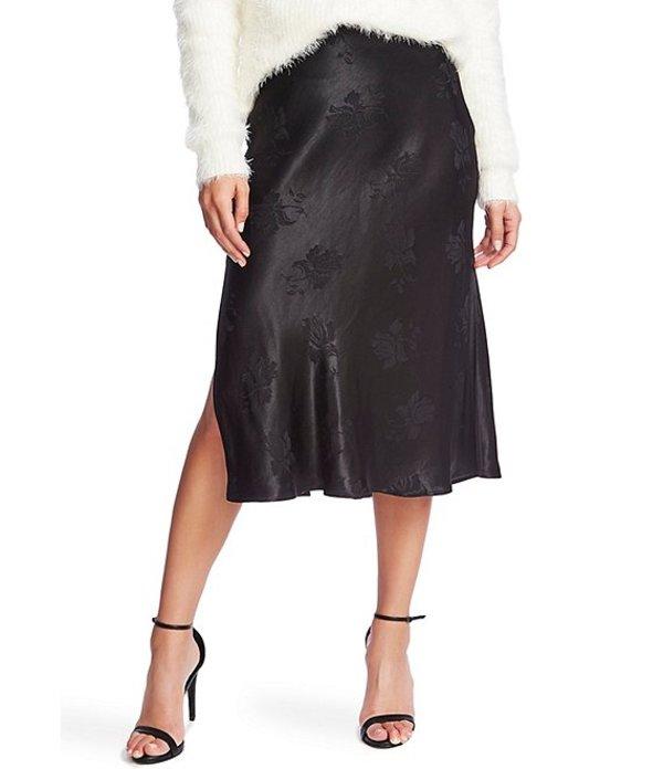 ワンステート レディース スカート ボトムス Floral Jacquard Bias Slip Midi Skirt Rich Black