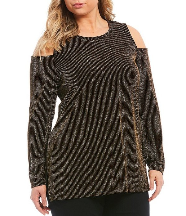 マイケルコース レディース シャツ トップス Plus Size Metallic Sparkle Stripe Cold-Shoulder Long Sleeve Top Black/Gold