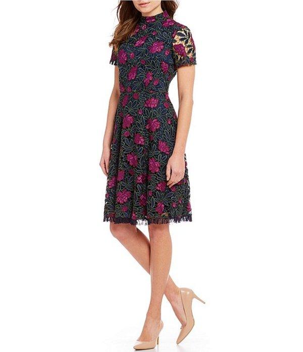 タハリエーエスエル レディース ワンピース トップス Floral Lace Mock Neck Dress Navy/Fuchsia