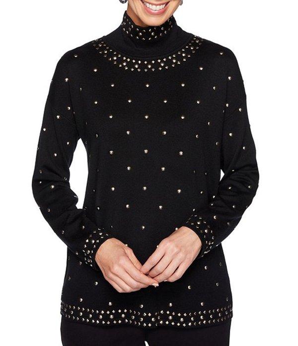 ルビーアールディー レディース Tシャツ トップス Petite Size Mock Neck Allover Stud Embellished Pullover Sweater Black